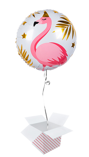 Flamingo Round Foil Helium Balloon - Inflated Balloon in a Box