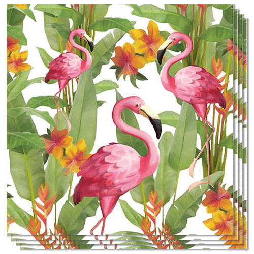 Flamingo White Design Luncheon Napkins 3 Ply - 33cm - Pack of 20 Product Image