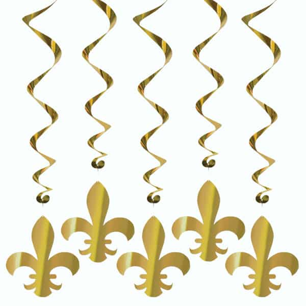 Fleur De Lis Hanging Decorations Whirls - 40 Inches / 102cm - Pack of 5