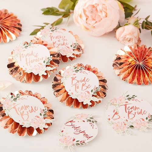Floral Hen Party Customisable Rose Gold Foiled Badges - Pack of 6