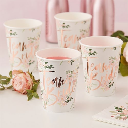 Floral Hen Party Rose Gold Foiled Paper Cups 260ml - Pack of 8