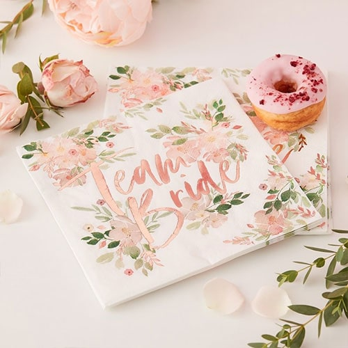 Floral Hen Party Rose Gold Foiled Paper Napkins 33cm 2Ply - Pack of 16