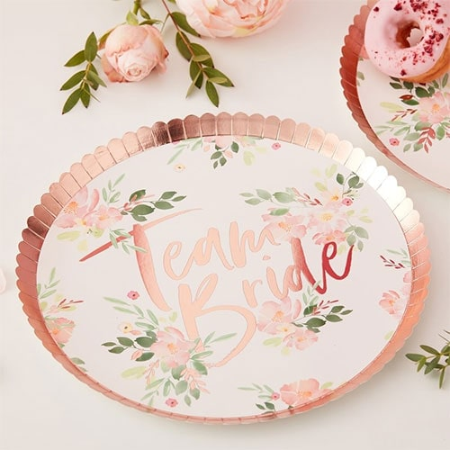 Floral Hen Party Rose Gold Foiled Paper Plates 24cm - Pack of 8
