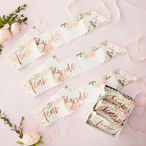 Floral Hen Party Team Bride Rose Gold Foiled Paper Sashes - Pack of 6