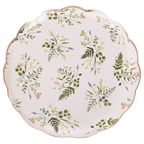 Floral Rose Gold Foiled Paper Plates 24cm - Pack of 8