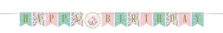 Floral Tea Party Happy Birthday Cardboard Banner 167cm