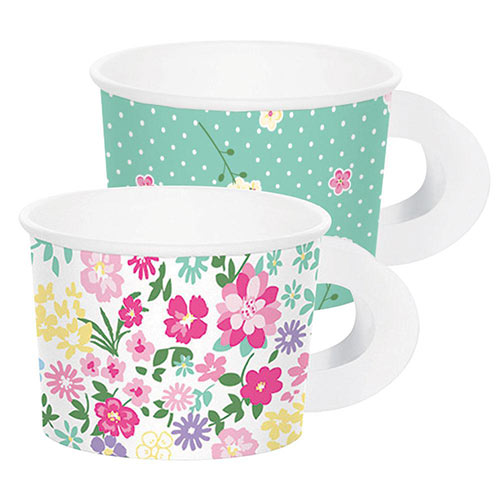 Floral Tea Party Paper Treat Cups with Handles - Pack of 8
