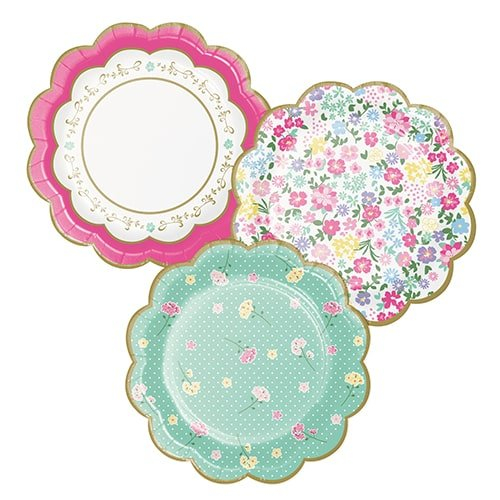 Floral Tea Party Scalloped Paper Plates 18cm - Pack of 8 Product Image