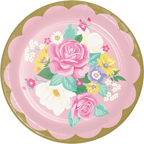 Floral Tea Party Round Paper Plates 22cm - Pack of 8
