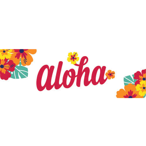 Aloha Hibiscus Hawaiian PVC Party Sign Decoration 60cm x 20cm Product Image