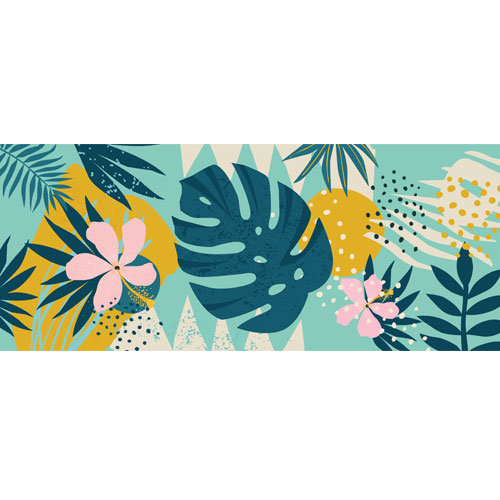 Flowers & Leaves Modern Pattern PVC Party Sign Decoration 60cm x 25cm Product Image