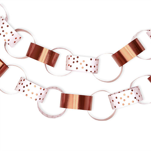 Foil Rose Gold Dots Paper Chains Decoration - Pack of 50