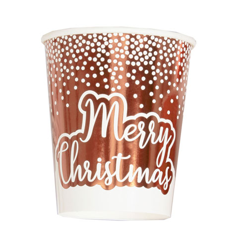 Foil Rose Gold & White Dots Merry Christmas Paper Cups 270ml - Pack of 8