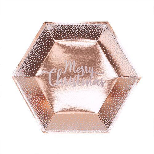 Foil Rose Gold & White Dots Merry Christmas Paper Plates 27cm - Pack of 8