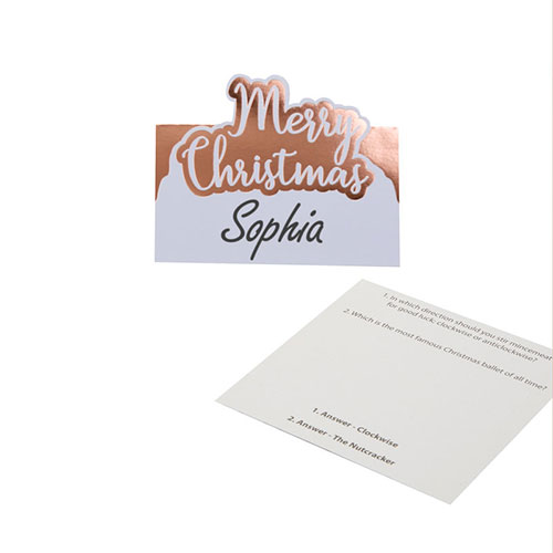 Foil Rose Gold & White Dots Merry Christmas Trivia Place Cards - Pack of 10 Product Image