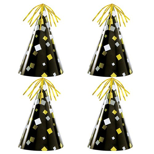 Foil Stamped New Year's Eve Party Cone Hats - Pack of 4