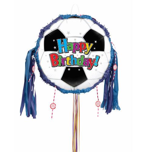 Football Happy Birthday Pull String Pinata