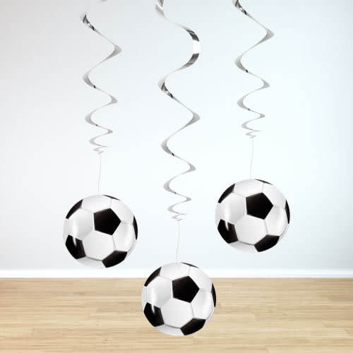 Football Swirl Hanging Decorations - Pack of 3