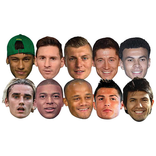 Football World Players Cardboard Face Masks - Pack of 10 Product Image