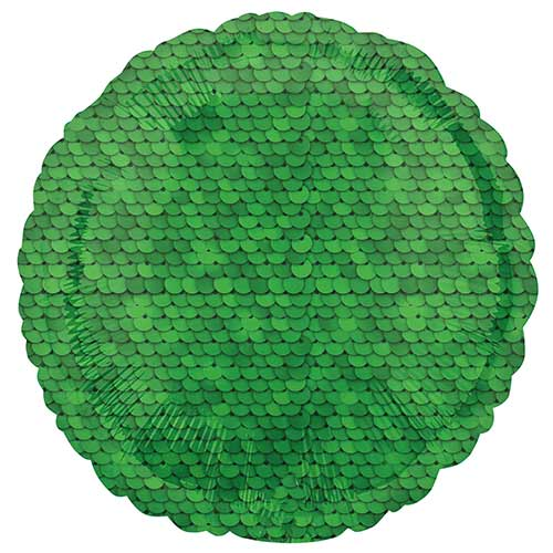 Forest Green Sequins Round Foil Helium Balloon 43cm / 17 in