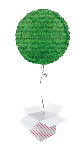 Forest Green Sequins Round Foil Helium Balloon - Inflated Balloon in a Box