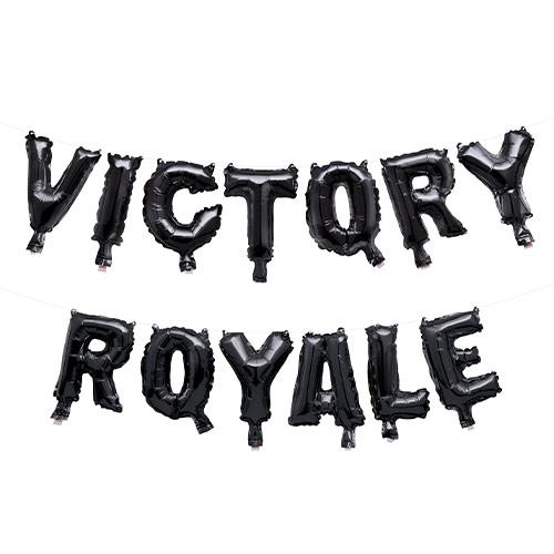 Fortnite Black Victory Royale Air Fill Foil Letter Balloon Kit 19cm Product Image