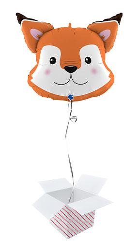 Fox Head Helium Foil Giant Balloon - Inflated Balloon in a Box