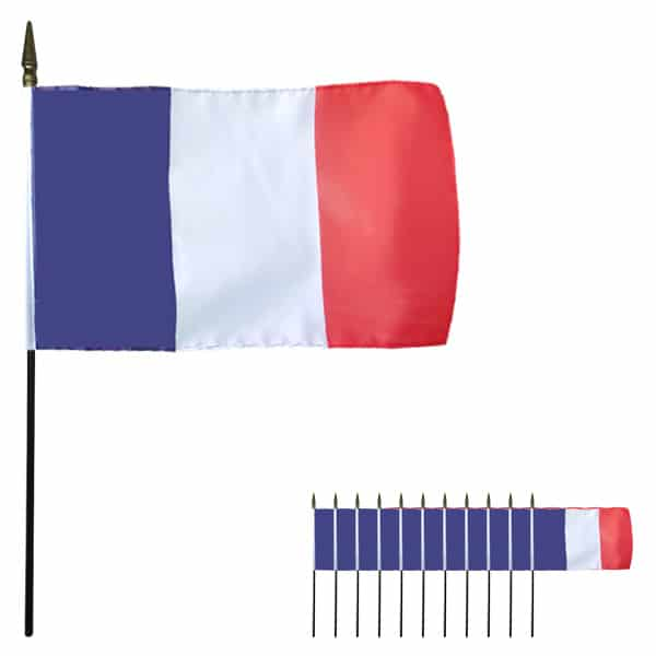 France Hand-held Cloth Flag - 6 x 4 Inches / 15 x 10cm - Pack of 12