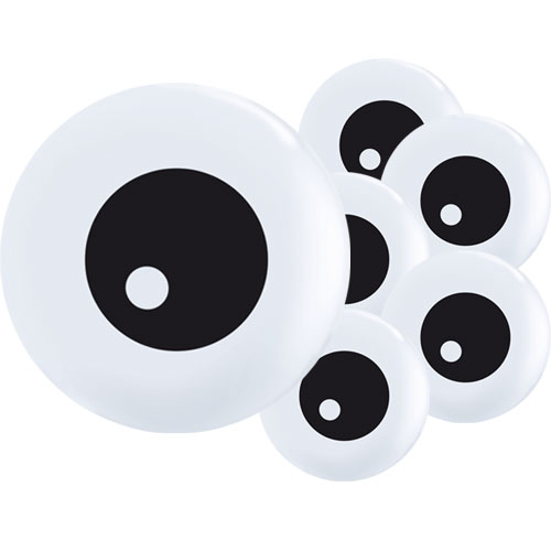 Friendly Eyeballs Topprint Halloween Round Mini Latex Qualatex Balloons 13cm / 5 in - Pack of 100 Product Image
