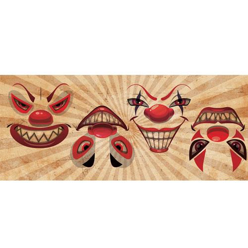 Frightening Clowns Grins Halloween PVC Party Sign Decoration 60cm x 25cm