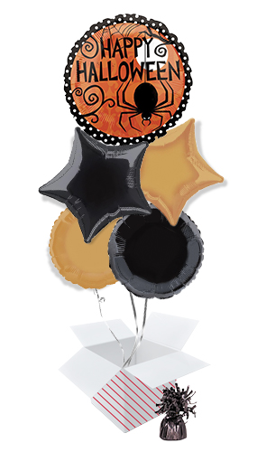 Frightfully Fancy Halloween Balloon Bouquet - 5 Inflated Balloons In A Box Product Image