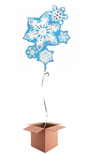 Frosty Snowflake Cluster Helium Foil Giant Balloon - Inflated Balloon in a Box Product Image