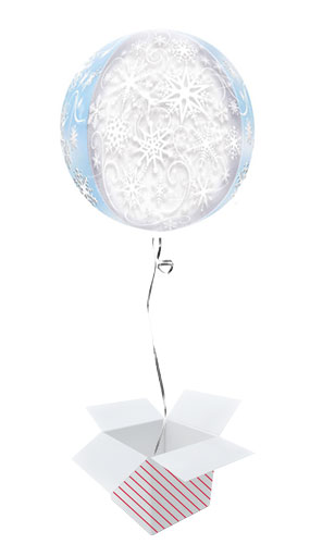Frozen Snowflakes Orbz Foil Helium Balloon - Inflated Balloon in a Box