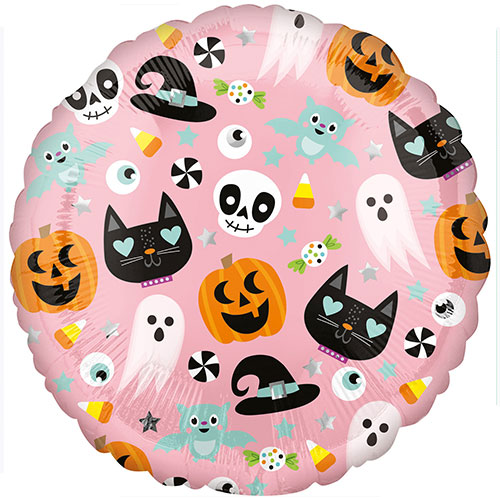 Fun Halloween Icons Round Foil Helium Balloon 43cm / 17 in Product Image