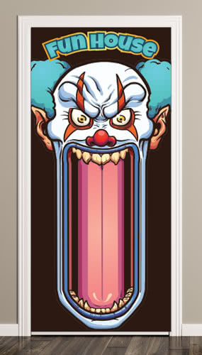 Fun House Scary Clown Halloween Door Cover PVC Party Sign Decoration 66cm x 152cm
