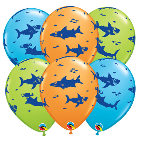 Fun Sharks Assorted Latex Helium Qualatex Balloons 28cm / 11 Inch - Pack of 10