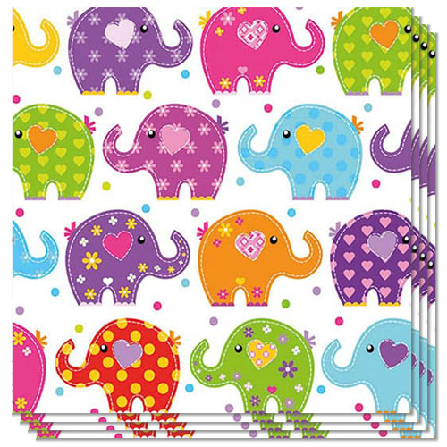 Funny Elephants Design Luncheon Napkins 3 Ply - 33cm - Pack of 20 Product Image