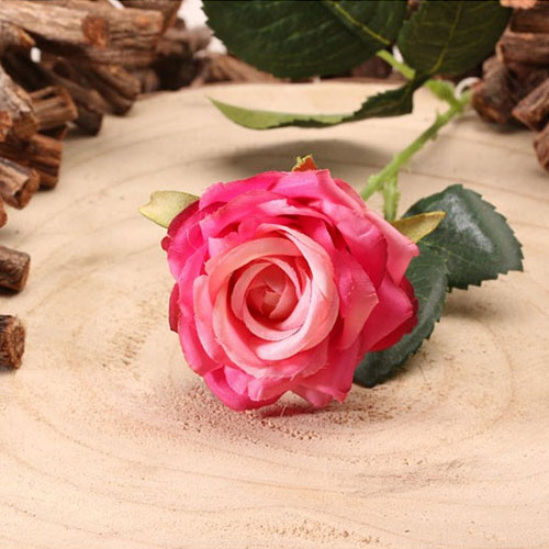 Fuschia Diamond Rose Artificial Silk Flower 40cm