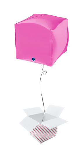 Hot Pink 4D Square Shape Foil Helium Balloon - Inflated Balloon in a Box Product Image