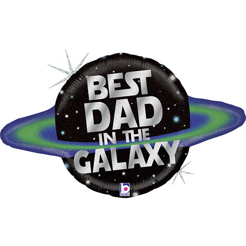 Galactic Dad Holographic Helium Foil Giant Balloon 79cm / 31 in Product Image