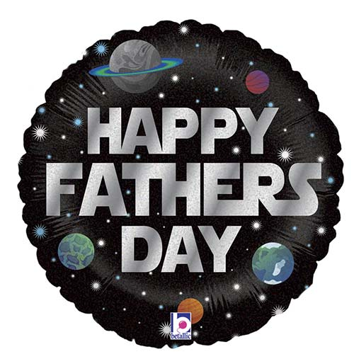 Galactic Father's Day Holographic Round Foil Helium Balloon 46cm / 18 in