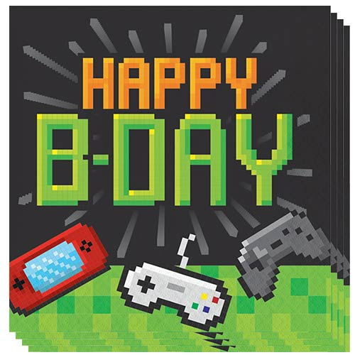 Gaming Party Happy B-Day Luncheon Napkins 33cm 2ply - Pack of 16 Bundle Product Image