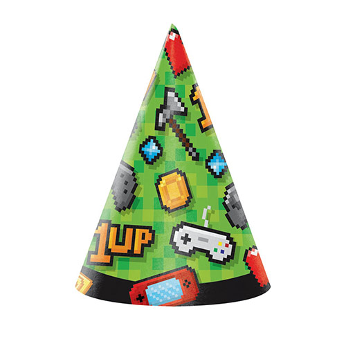 Gaming Cone Party Hats - Pack of 8