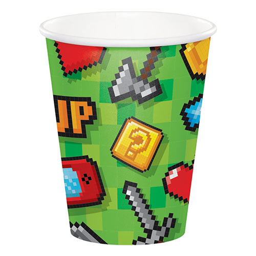 Gaming Party Paper Cups 266ml - Pack of 8 Bundle Product Image