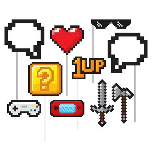 Gaming Party Photo Booth Props - Pack of 10