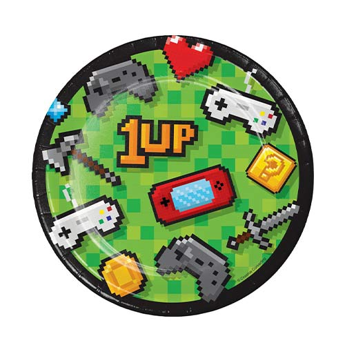 Gaming Party Round Paper Plates 17cm - Pack of 8 Product Image