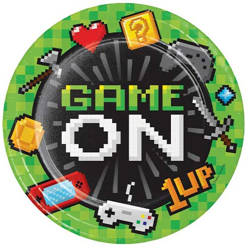 Gaming Party Round Paper Plates 22cm - Pack of 8 Bundle Product Image