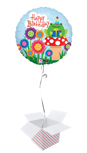 Garden Birthday Round Foil Helium Balloon - Inflated Balloon in a Box Product Image