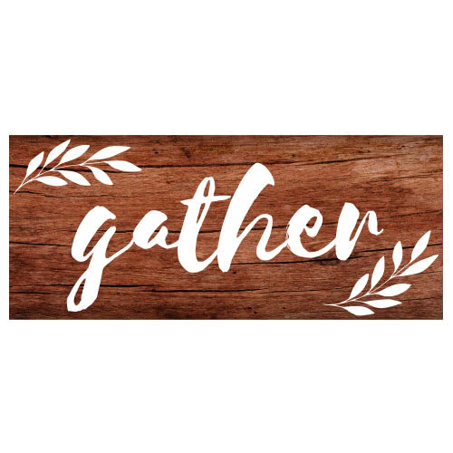 Gather Thanksgiving Day Wooden Effect PVC Party Sign Decoration 60cm x 25cm