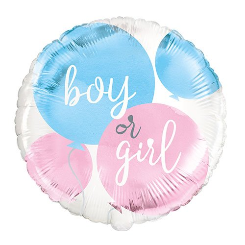 Gender Reveal Party Round Foil Helium Balloon 46cm / 18 in